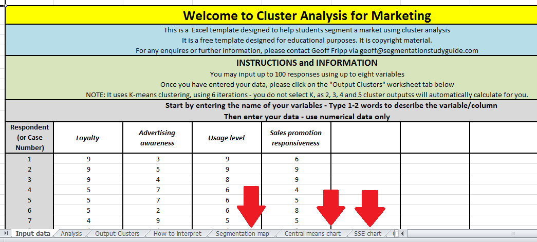 Guide To Using The Free Template Cluster Analysis 4 Marketing