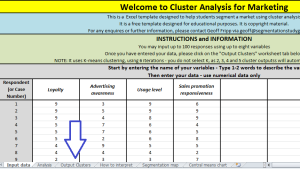 cluster analysis output tab
